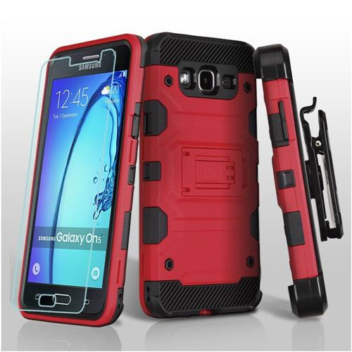 Insten Hard Dual Layer TPU Cover Case w/Holster/Installed For Samsung Galaxy On5 - Red/Black