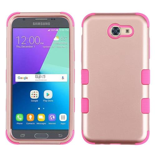 Insten Tuff Hard Hybrid Rubber Silicone Cover Case For Samsung Galaxy J3 (2017) - Rose Gold/Pink
