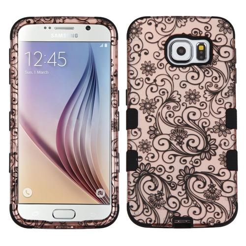 Insten Four-leaf Clover Hard Rubberized Silicone Case For Samsung Galaxy S6, Rose Gold/Black