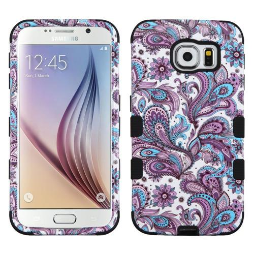 Insten European Flowers Hard Hybrid Rubberized Silicone Case For Samsung Galaxy S6, Purple/White