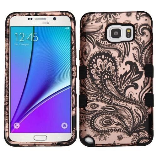 Insten Phoenix Flower Hard Hybrid Silicone Cover Case For Samsung Galaxy Note 5, Rose Gold/Black