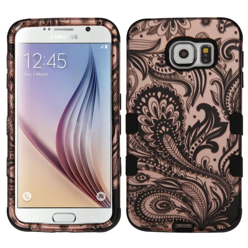 Insten Phoenix Flower Hard Rubber Coated Silicone Cover Case For Samsung Galaxy S6, Rose Gold/Black