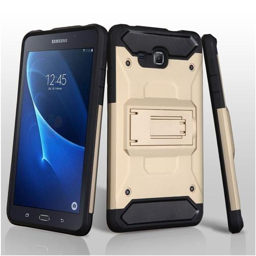 Insten Hard Hybrid TPU Cover Case w/Holster/Installed For Samsung Galaxy Tab A 7 - Gold/Black