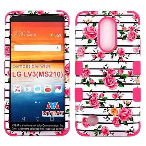 Insten Tuff Fresh Roses Hard Hybrid Rubber Coated Silicone Case For LG Aristo/LV3 - Pink/White