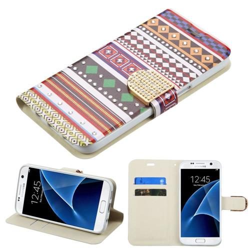 Insten Ethnic Customs Folio Case w/stand/card slot/Diamond For Samsung Galaxy S7, Purple/White