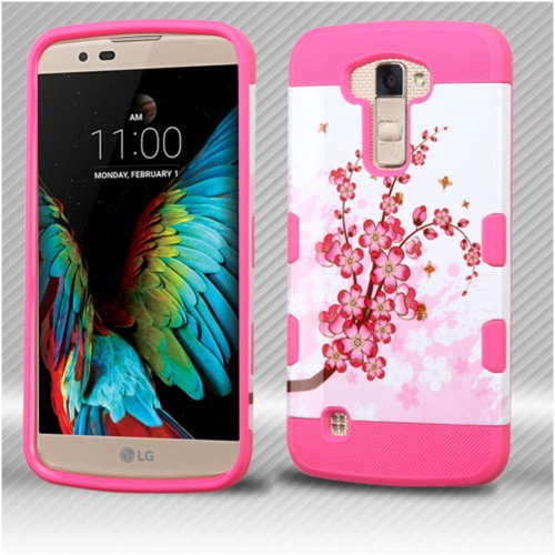 Insten Spring Flowers Hard TPU Cover Case For LG K10 (2016)/Premier LTE - Pink/White