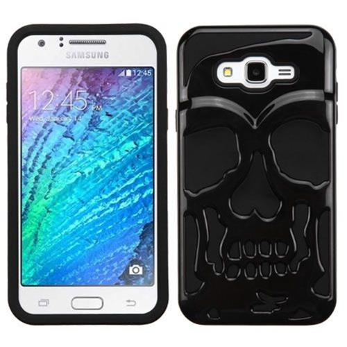 Insten Skullcap Hard Dual Layer Rubber Silicone Case For Samsung Galaxy J7 (2015) - Black