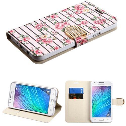 Insten Fresh Roses Flip Case w/stand/card holder/Diamond For Samsung Galaxy J7 (2015), Pink/White