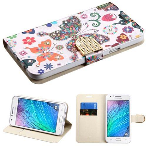Insten Butterfly Wonderland Flip Case w/stand/card holder For Samsung Galaxy J7 (2015), Purple/White