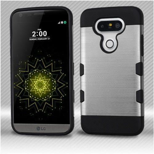Insten Hard TPU Cover Case For LG G5 - Silver/Black