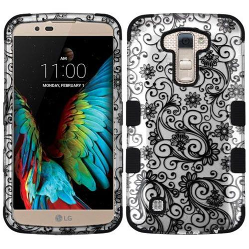 Insten Tuff Four-leaf Clover Hard Dual Layer Rubberized Silicone Case For LG K10 (2016), Black/White