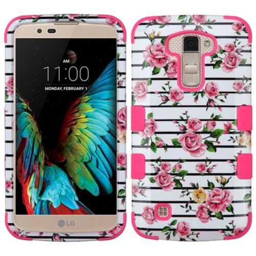 Insten Tuff Fresh Roses Hard Hybrid Rubberized Silicone Cover Case For LG K10 (2016) - Pink/White