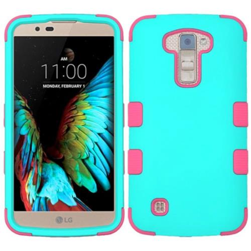 Insten Tuff Hard Dual Layer Silicone Case For LG K10 (2016) - Teal/Pink