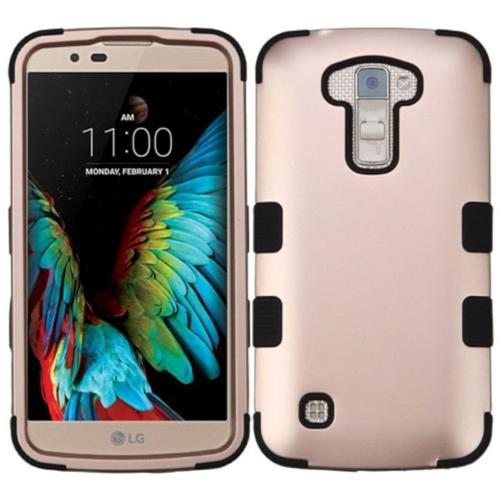 Insten Tuff Hard Hybrid Rubber Coated Silicone Case For LG K10 (2016) - Rose Gold/Black