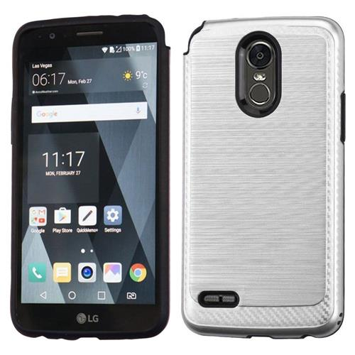 Insten Hard Hybrid Brushed TPU Cover Case For LG Stylo 3 - Silver/Black