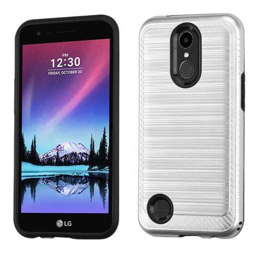 Insten Hard Hybrid Brushed TPU Case For LG Harmony/K10 (2017)/K20 Plus/K20 V - Silver/Black