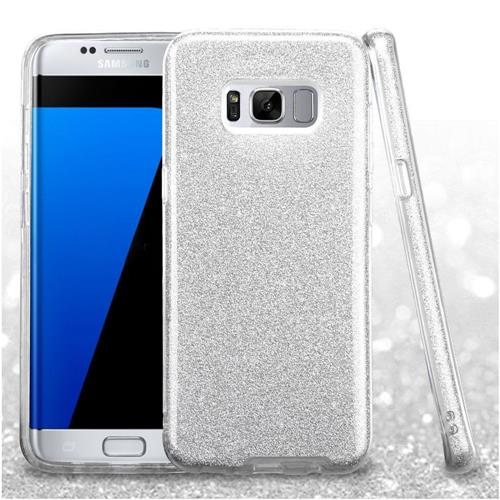 Insten Hard Dual Layer Glitter TPU Cover Case For Samsung Galaxy S8 Plus - Silver