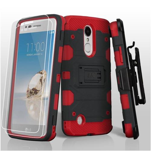 Insten Hybrid TPU Case w/stand For LG Aristo/Fortune/K4 (2017)/K8 (2017)/LV3/Phoenix 3, Black/Red