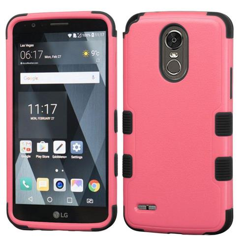 Insten Tuff Hard Dual Layer Rubber Silicone Case For LG Stylo 3 - Pink/Black