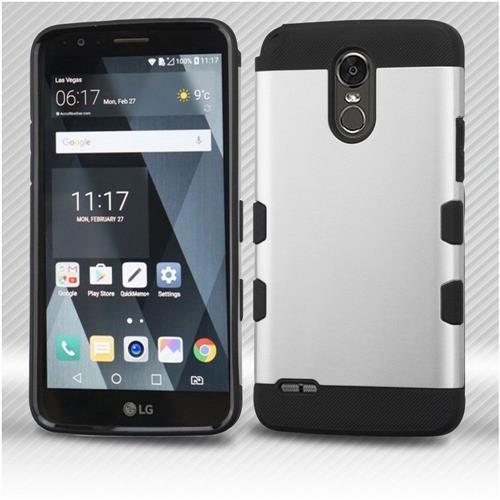 Insten Tuff Hard Hybrid TPU Cover Case For LG Stylo 3 - Silver/Black