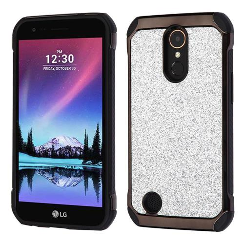 Insten Hard Hybrid Glitter TPU Cover Case For LG Harmony/K10 (2017)/K20 Plus/K20 V - Silver/Black