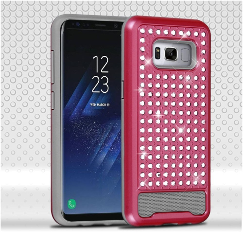 Insten Hard Dual Layer Diamante Silicone Cover Case For Samsung Galaxy S8 - Hot Pink/Gray