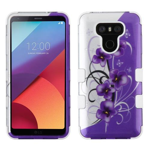 Insten Tuff Twilight Petunias Hard Dual Layer Silicone Cover Case For LG G6 - Purple/White