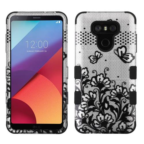 Insten Tuff Lace Flower Hard Dual Layer Rubberized Silicone Cover Case For LG G6 - Black/Silver