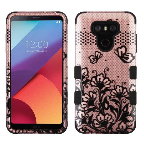 Insten Tuff Lace Flower Hard Hybrid Rubber Coated Silicone Cover Case For LG G6 - Black/Rose Gold