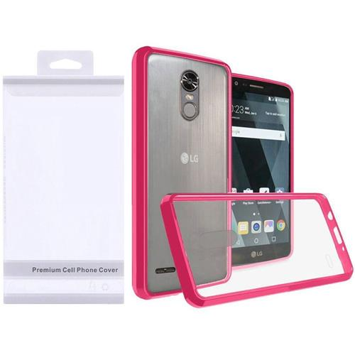 Insten Hard Crystal TPU Case For LG Stylo 3 - Clear/Hot Pink