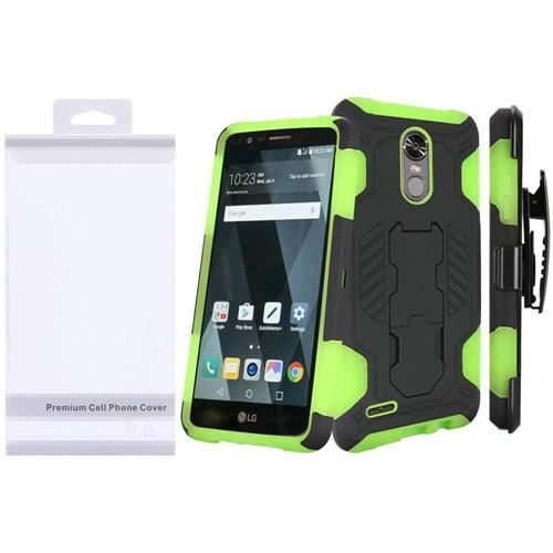 Insten Hard Dual Layer Rubber Coated Silicone Case w/stand/Holster For LG Stylo 3 - Black/Neon Green