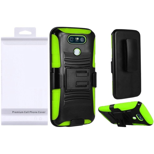 Insten Hard Dual Layer Plastic Silicone Case w/Holster For LG G6 - Black/Neon Green