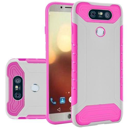 Insten Hard Hybrid TPU Cover Case For LG G6 - White/Hot Pink