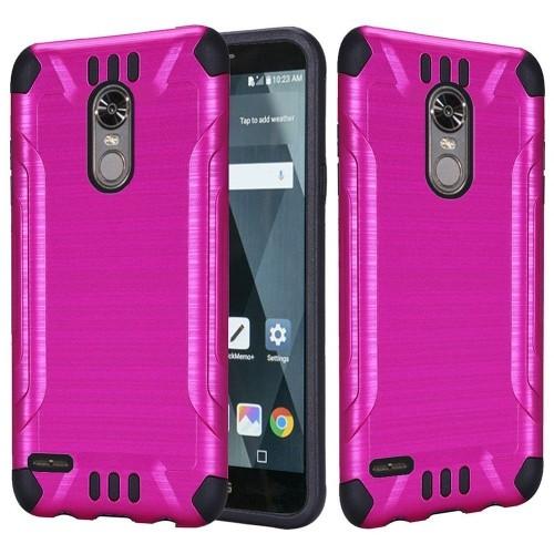 Insten Hard Hybrid Brushed TPU Case For LG Stylo 3 - Hot Pink/Black