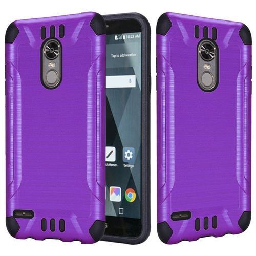 Insten Hard Hybrid Brushed TPU Case For LG Stylo 3 - Purple/Black