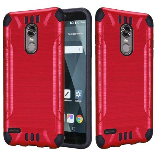 Insten Hard Dual Layer Brushed TPU Cover Case For LG Stylo 3 - Red/Black