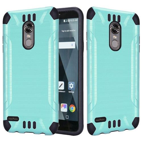 Insten Hard Dual Layer Brushed TPU Cover Case For LG Stylo 3 - Teal/Black