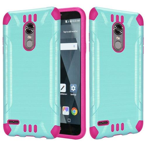 Insten Hard Dual Layer Brushed TPU Case For LG Stylo 3 - Teal/Hot Pink