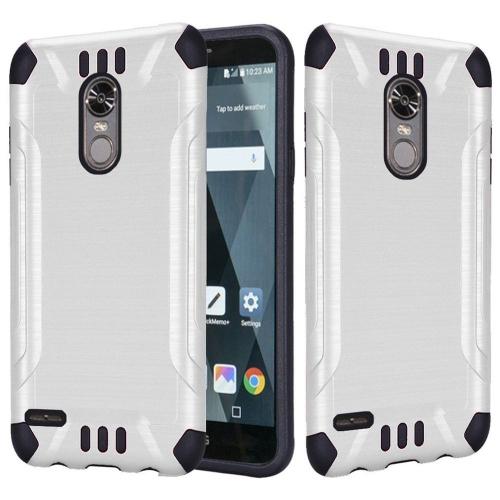 Insten Hard Hybrid Brushed TPU Cover Case For LG Stylo 3 - White/Black