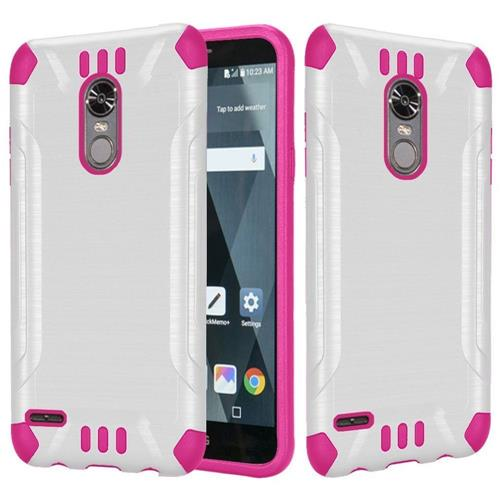 Insten Hard Dual Layer Brushed TPU Cover Case For LG Stylo 3 - White/Hot Pink