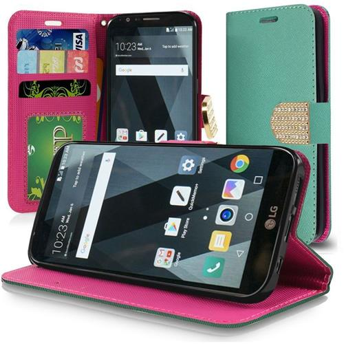 Insten Flip Leather Fabric Case Lanyard w/stand/card slot/Diamond For LG Stylo 3 - Teal/Hot Pink