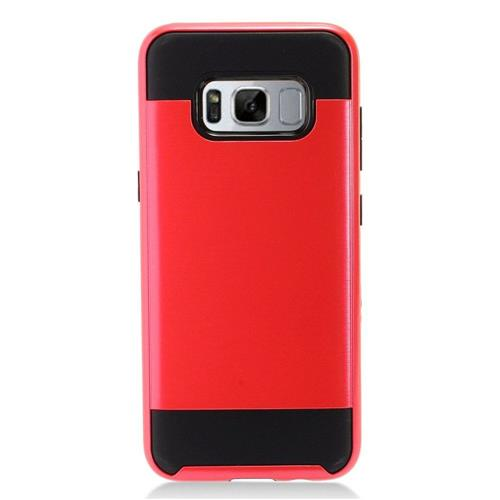 Insten Chrome Dual Layer Brushed Hard Case For Samsung Galaxy S8 Plus - Red/Black