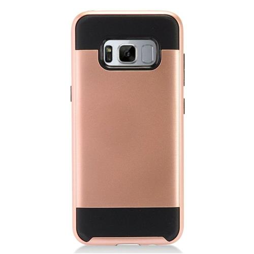 Insten Chrome Hybrid Brushed Hard Cover Case For Samsung Galaxy S8 Plus - Rose Gold/Black