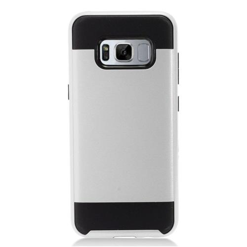 Insten Chrome Dual Layer Brushed Hard Cover Case For Samsung Galaxy S8 Plus - Silver/Black