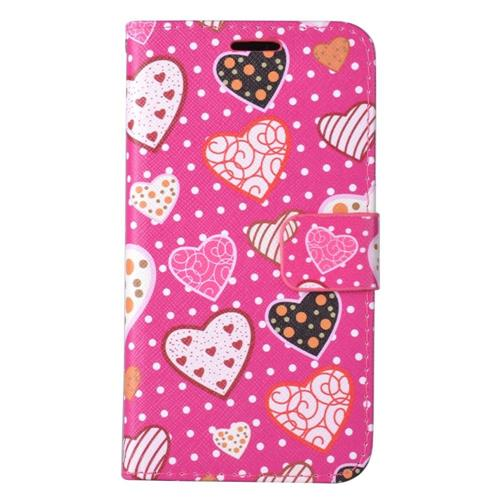 Insten Hearts Book-Style Leather Fabric Cover Case w/stand/card slot For LG K20 Plus - Hot Pink