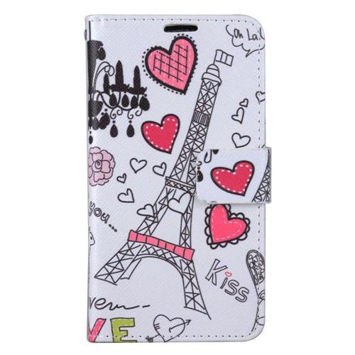 Insten Eiffel Tower Folio Leather Fabric Case w/stand/card slot For LG Stylo 3 - White/Pink