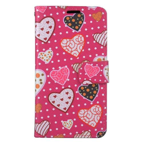 Insten Hearts Flip Leather Fabric Case w/stand/card holder For LG Stylo 3 - Hot Pink