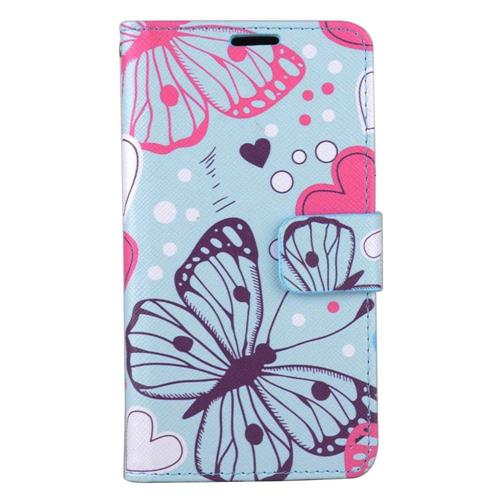Insten Butterfly/Heart Folio Leather Fabric Cover Case w/stand/card slot For LG Stylo 3 - Blue/Pink
