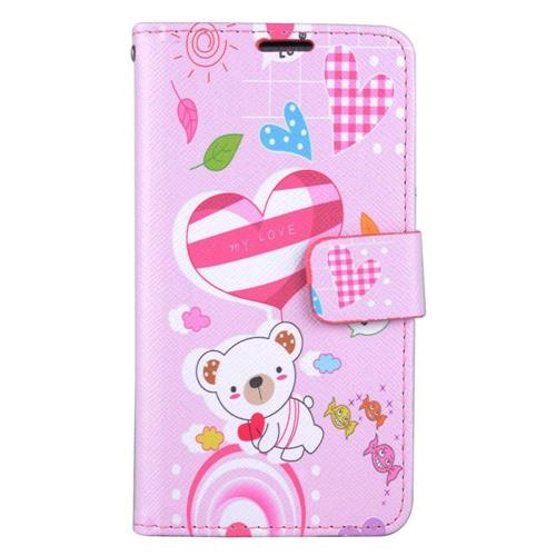 Insten Cute Bear Folio Leather Fabric Cover Case w/stand/card holder For LG Stylo 3 - Pink