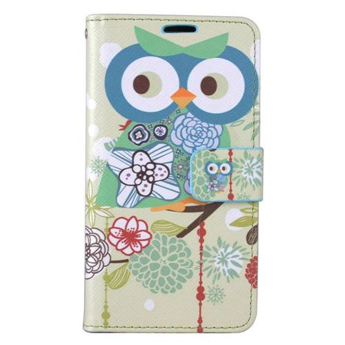 Insten Owl Flip Leather Fabric Case w/stand/card slot For LG Stylo 3 - Blue/Green